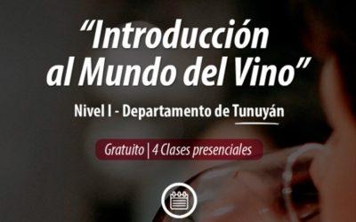 """La Municipalidad de Tunuyán y el INV brindarán una nueva edición del curso """"Introducción al Mundo del Vino"""""""